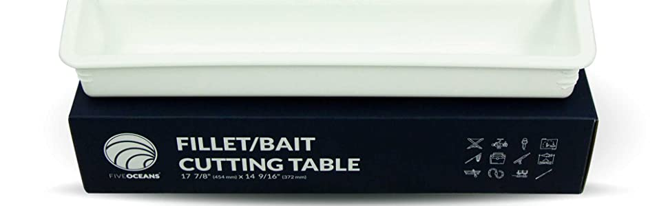 White Bait/Fillet Serving Cutting Board Table Rod Holder Mount w/ Plier Storage and Knife Slot