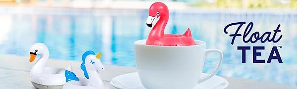 flamingo, unicorn, swan, mug, hot tea, tea, tea infuser, pool, float, loose leaf, poolside, fred