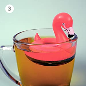 flamingo, tea infuser, tea, infuser, loose leaf, genuine, fred, fred & friends, tea, gift, mug