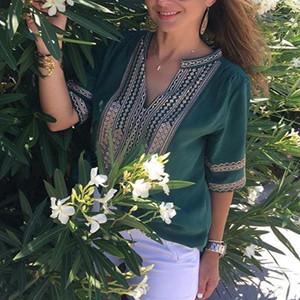 Floral Print Casual Loose Tops Boho Blouses Shirts