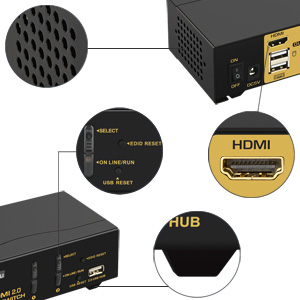 CKLau Ultra HD 2 Port HDMI 2.0 KVM Switch 4096x2160@60Hz 444 with USB 2.0 Hub and 2 Kit Cables
