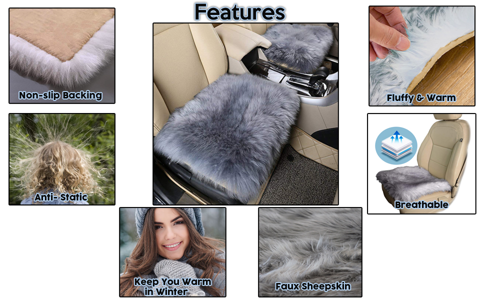 Gray Faux Sheepskin Car Seat