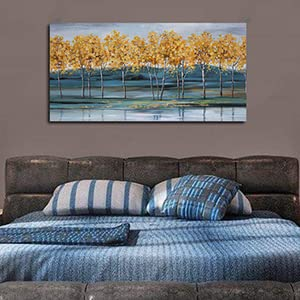 Canvas Wall Art Gold Ginkgo Trees Painting Blue Landscape Mountain Picture Large One Panel Framed
