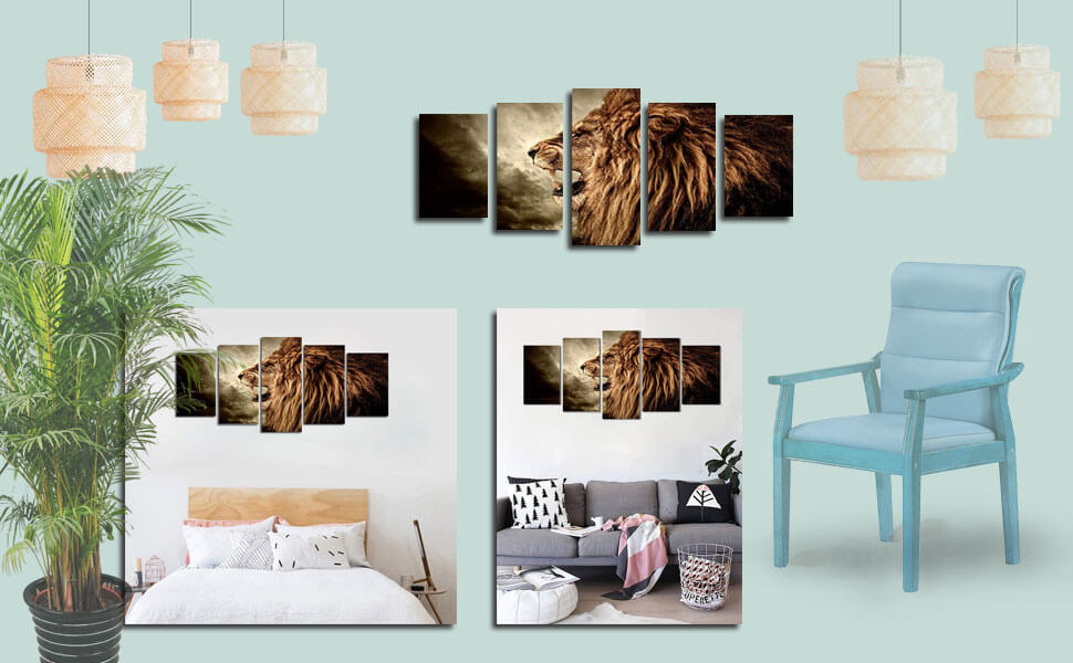 Canvas Wall Art Lion Howling Animal Painting 5 Panels Large Picture Artwork for Living Room Bedroom