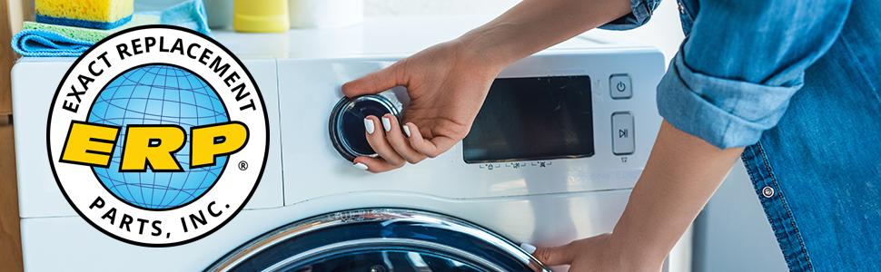Woman starting washing machine with ERP logo