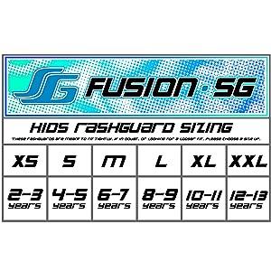 Fusion Surf Gear Kids rash guard size chart