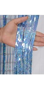 Light Blue 3.2*13.1ft Foil Curtains