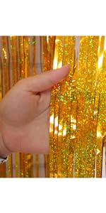 Gold 3.2*9.8ft Foil Curtains