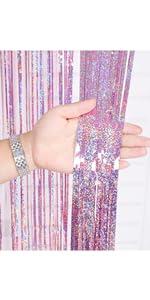 Pink 3.2*9.8ft Foil Curtains