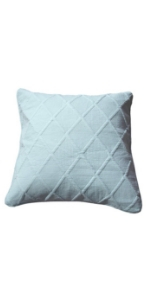 pastel light baby blue decorative quilted bed euro pillow sham