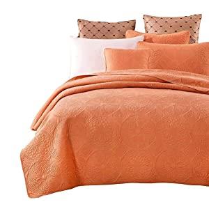light orange comforter bedspread coverlet quilt