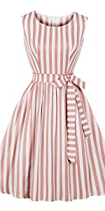 vintage dress retro dress stripes dress tie waist dress high waist dress swing dress bridesmaid