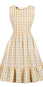 vintage dress retro dress plaid dress check dress yellow dress bridesmaid dress summer dress swing