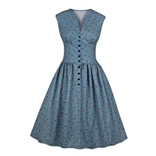 blue dress vintage dress retro dress high waist dress v neck dress button up dress work dress