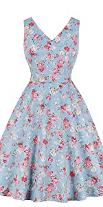 vintage dress retro dress v neck dress cotton dress floral dress blue dress 1950s dress