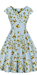 vintage dress retro dress v neck dress cotton dress floral dress blue dress 1950s dress yellow