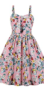 vintage dress retro dress rockabilly dress bridesmaid dress strap dress summer floral dress pink