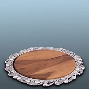 Arthur Court Sand-Cast Aluminum Pizza or Cheese Server with Wood Board; Olive Pattern Metal Holder