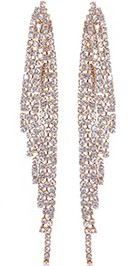 Humble Chic Simulated Diamond Earrings - Darling Waterfall Tassel CZ Statement Chandelier Studs
