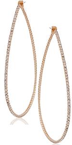 Simulated Diamond Big Hoop Earrings - Rhinestone CZ Crystal Extra Large Statement Bridal Ear Jacket