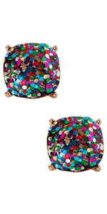 Humble Chic Faceted Glitter Square Stud Earrings Cushion Cut Statement Post Ear Studs