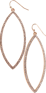 Humble Chic Hoop Dangle Earrings - Simulated Diamond Marquise Teardrop Statement Rhinestone Drops