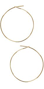 Round Hoop Earrings - Hypoallergenic Lightweight Wire Threader Loop Drop Dangles for Women
