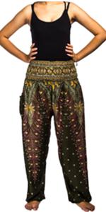en's Rayon Print Smocked Waist Boho Harem Pants peacock