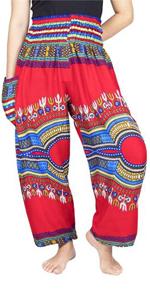 Lofbaz Women's Smocked Waist Dashiki Yoga Harem Pants Red XL