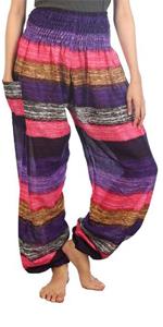 Lofbaz Women's Colourful 2 Smocked Waist Harem Pants Pink Size 3XL