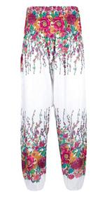 Lofbaz Women's Smocked Waist Floral Yoga Harem Pants White & Pink 3XL