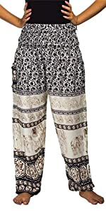 Lofbaz Women's Smocked Waist Harem Pants Floral Elephant Black M
