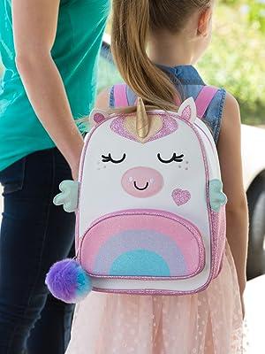 Unicorn backpack on school girl