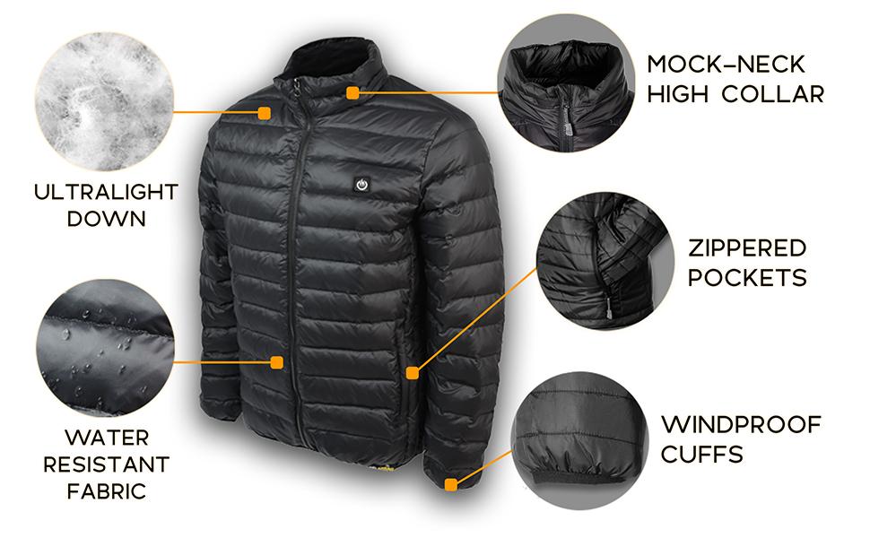 ultralight down, mock high neck collar, zippered pocket, water resistant, windproof
