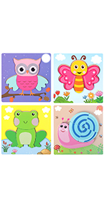 Sealive Animal Chunky Puzzles for Kids , 4 Pack Wooden Puzzles for Toddlers, Shape Color Games