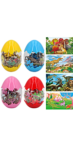 Sealive 4 Pack Dinosaur Puzzles in Dino Eggs - 60 Piece in Each Pack Dinosaur Toys Floor Puzzles