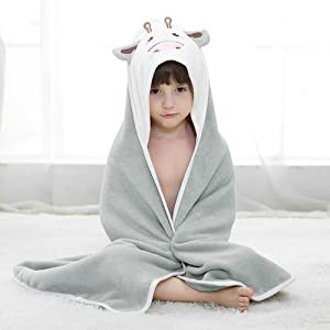 Hooded Bath Towels with Cute animals Face Design Perfect Baby Shower Gift for Boys and Girls