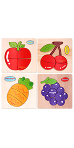 Sealive Fruits Chunky Puzzles Peg Puzzle, 4 Pcs Wooden Jigsaw Puzzles for Toddlers Shape Color