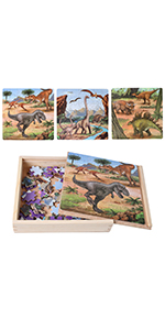Sealive Dinosaur Jigsaw Puzzles in a Box, Wooden Blocks Toddler Games Construction Toys