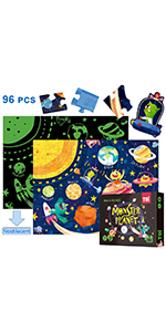 Sealive 96 PC Kids Puzzles Age 6 - Luminous - Space Solar System Science