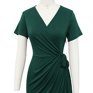 Dark Green V Neck Faux Wrap Dress Short Sleeves