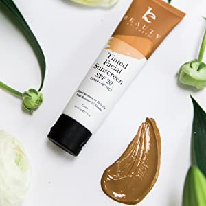 beauty by earth face facial sunscreen tinted moisturizer zinc oxide reef save SPF sunblock best safe