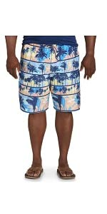 Island Passport by DXL Big and Tall Scenic Print Swim Trunks
