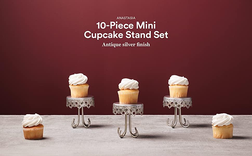 Amalfi Decor Antique Silver Mini Cupcake Holder Stand Set of 10 Dessert Pedestal Display Events