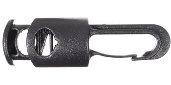one cylinder cord lock with hook on end black plastic blank background released lock closed hook
