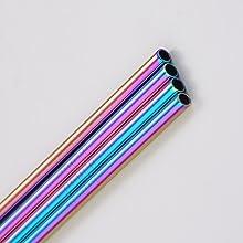 multi colored metal straws