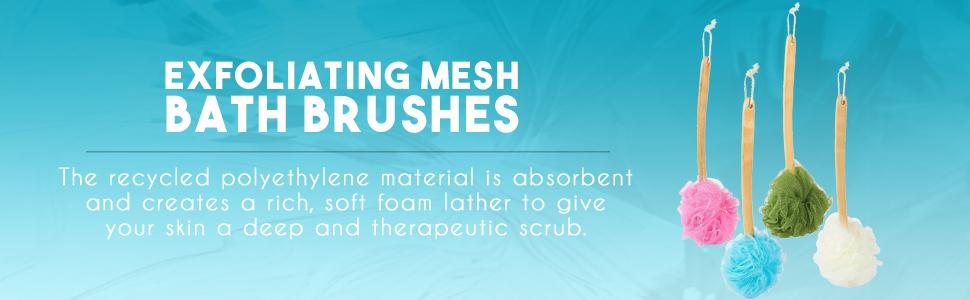 bath exfoliating brush shower loufa loofah handle string hang exfoliation rich lather foam scrub