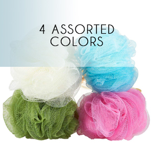 assorted colors blue green pink white exfoliation scrub handle string hang