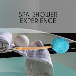 spa shower experience bath clean foam scrub deep exfoliation relax blue meditate
