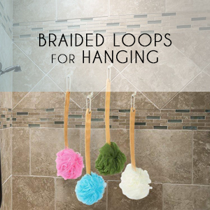 braided loops hanging scrub string exfoliation color handle hold bath shower relaxation